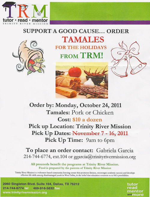 Trinity River Mission tamale flyer