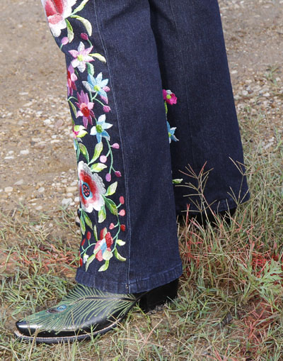 Peacock-design boots