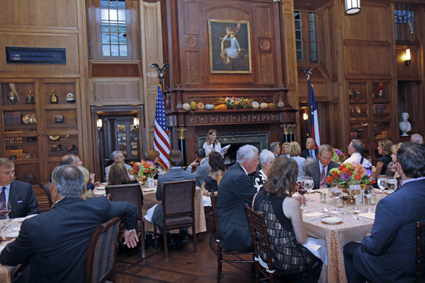 Caren Kline thanking guests in the Pecan Room