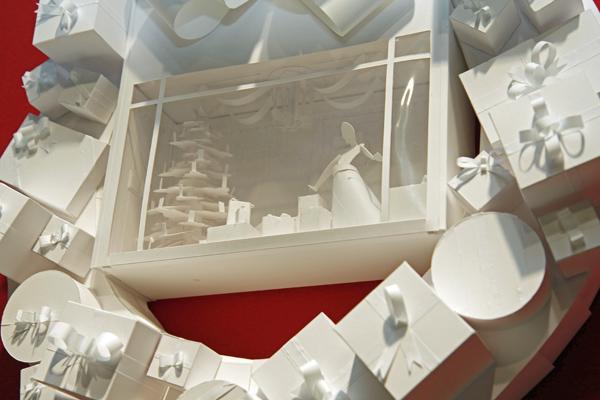 Robert Chapa's white gift box wreath
