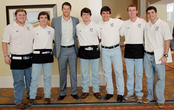 Clayton Kershaw and members of the Highland Park High School baseball team