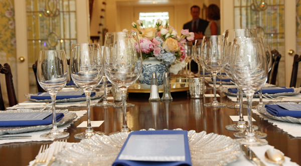Former Crystal Charity Ball Chair Dinner table setting
