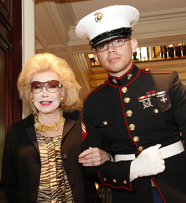 Martha Ann Schneider and Marine escort