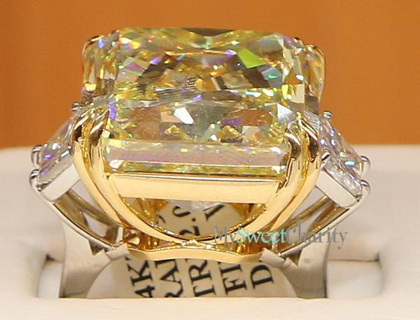 39-carat fancy intense yellow radiant Diamond ring