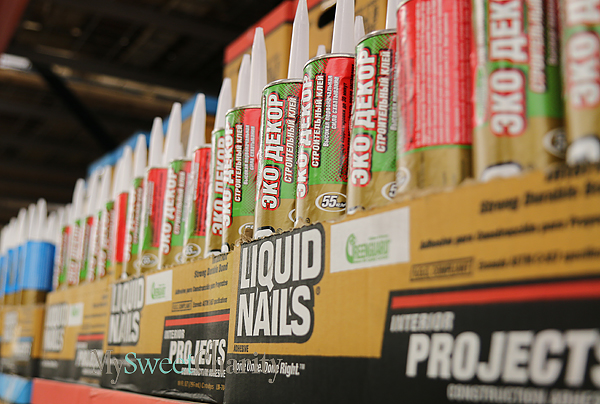 Rows of liquid nails