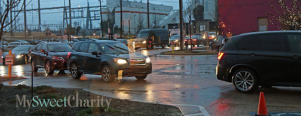 Traffic jam in the rain