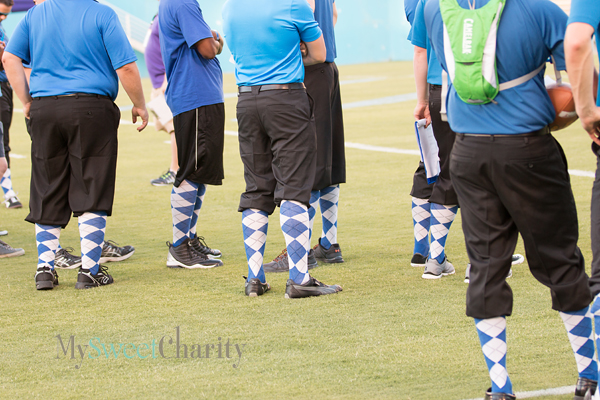 Brus' coaches in blue-and-white argyle sock