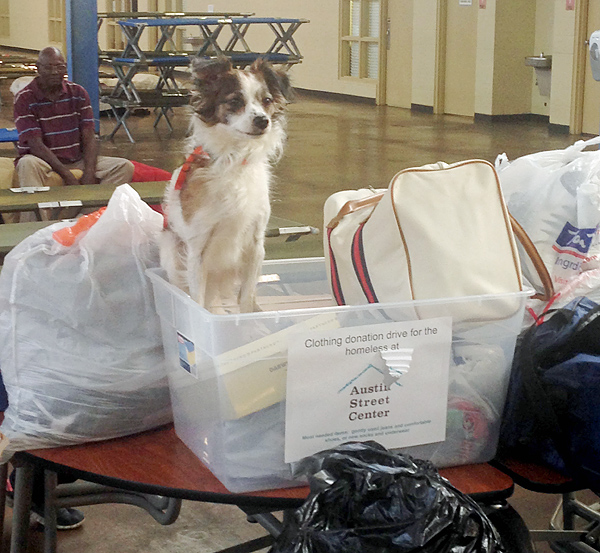 Rosemary delivering donations
