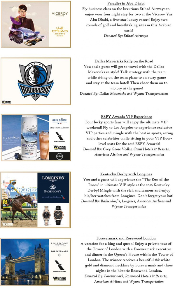 2015 Cattle Baron's Ball Live Auction Packages Part 2