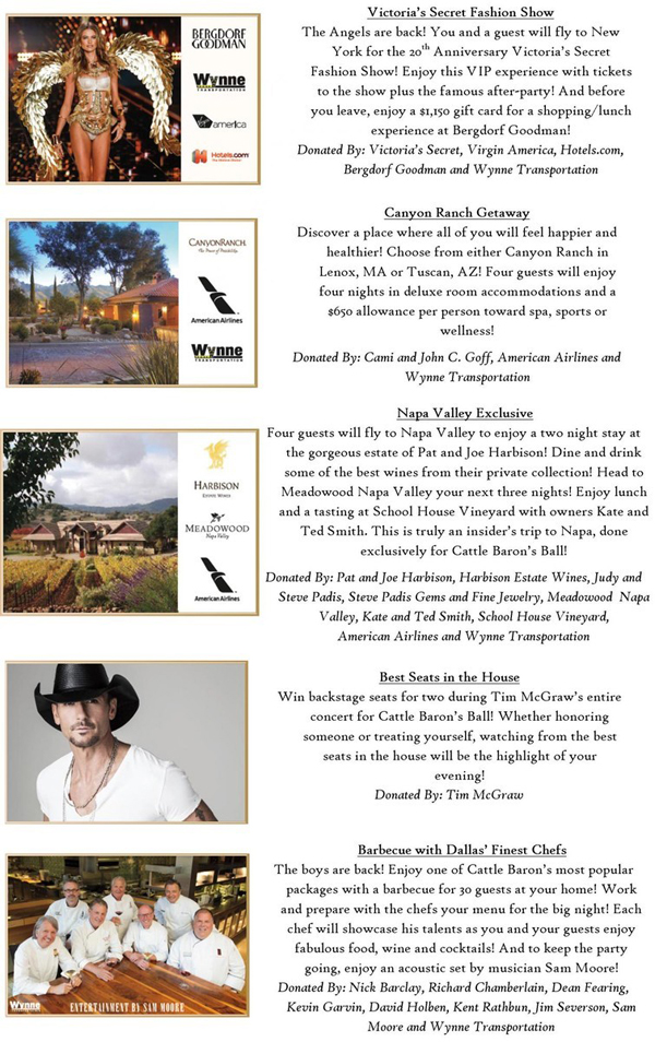 Cattle Baron's Ball live auction packages Part 3*