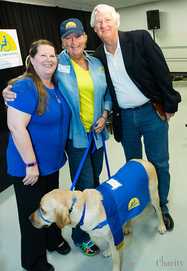 Linda Marler, Judy Schumpert and Ed Kinkeade and new Canine Companions for Independence recruit