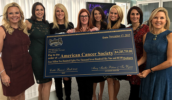 JUST IN: 2015 Cattle Baron's Ball Mary Martha Pickens And Tia Wynne Hand Over A $4,285,759 Check To American Cancer Society