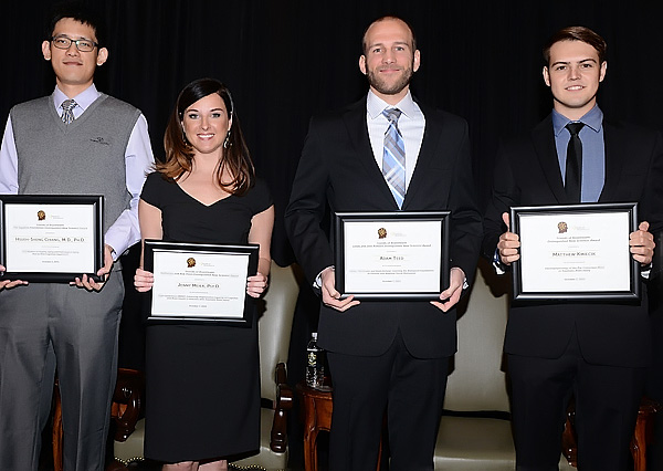 2015 Friends of BrainHealth Award recipients (from the left): Hsueth-Sheng Chiang, Jenny Miller, Adam Teed and Matthew Kmieck*