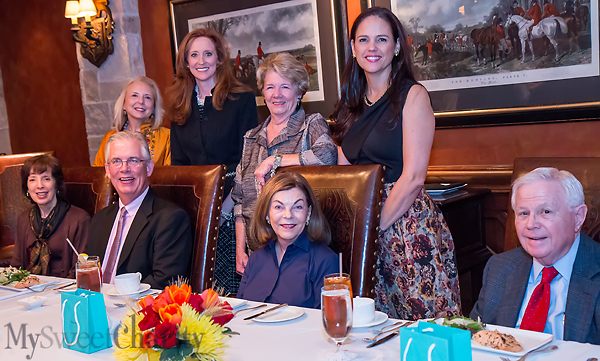 From the left: (standing) Sissy Cullum, Tiffany Divis, Emilynn Wilson and Angie Kadesky; (seated) Betsy Cullum, Tom Campbell, Barbara and John Stuart