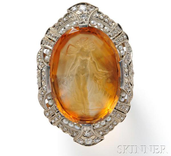 Art Deco Citrine Cameo Ring*